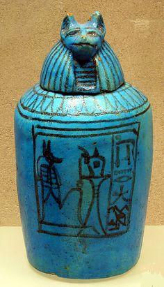 Canopic Jar w/ Head of Duamutef -- Circa 1295-1185 -- Egypt, Dynasty 19 -- Faience -- The Metropolitan Museum of Art