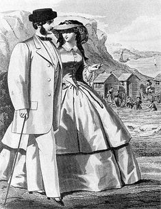 """1859 """"fashion plate of both men's and women's daywear, with seabathing in background."""" - OHHHH to have lived during this time... just for the houses and fashion!"""