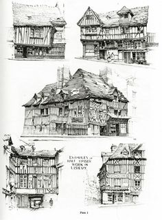 Examples of half-timbered medieval housing in Lisieux, France. Architectural…