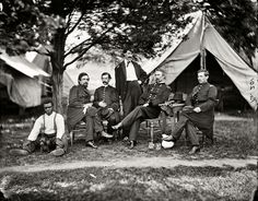 """Shorpy Historical Photo Archive :: Staff Meeting: 1865  July 1865. """"Washington, District of Columbia. Brevetted Brigadier General Napoleon Bonaparte McLaughlen (seated, second from right) and staff."""""""