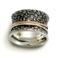 Wedding band - Sterling silver with rose and yellow gold spinners ring - A way of life via Etsy