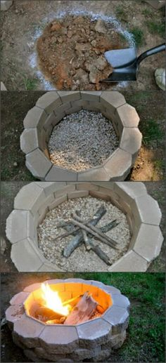 DIY Fire Pits: Amazing DIY Outdoor Fire Pit Ideas You Must See, DIY Backyard Ideas Fire pits are a great addition to your garden. Take a look at these amazing DIY fire pit ideas! Fire Pit Ring, Diy Fire Pit, Fire Pit Backyard, Backyard Beach, Nice Backyard, Cool Fire Pits, Backyard Seating, Fire Pit Video, Diy Outdoor Fireplace