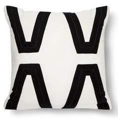 Nate Berkus Ivory and Black Velvet Applique Pillow