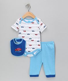 White & Blue Born to Ride Bodysuit Set by bon bébé