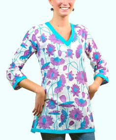 This Purple China Floral V-Neck Tunic is perfect! #zulilyfinds
