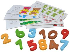 Wooden Toys :: 1 to 10 WOODEN NUMBERS Counting PUZZLE Educational Kids PRESCHOOL TOY