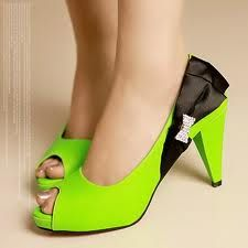 Neon green with black satin and diamond bow accents.