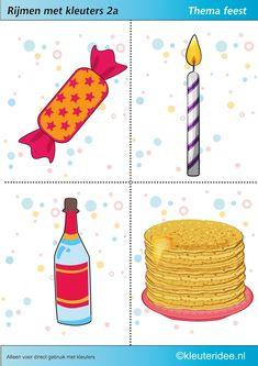 Rijmen met kleuters 2a, te gebruiken bij kinderboekenweek 2014, thema feest, juf Petra van kleuteridee, free printable. A Classroom, Book Activities, Lego, Preschool, Letters, Learning, Birthday, Fun, Kids