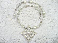 OOAK Vintage White PEARL Rhinestone Sarah by ElegantiTesori
