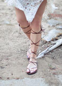 2 Super Easy DIY Leather Lace-up Gladiator Sandals