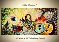 Contemporary Art of musical instraments | Original Abstract Music Modern Art on Large Canvas by Madhav