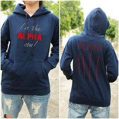 "Teen Wolf ""I'm the Alpha Now"" Sweatshirt -size unisex S -color: blue navy $37.00"