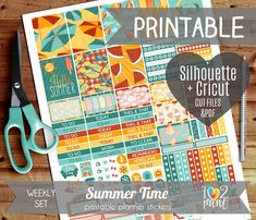 Summer Time Weekly Printable Planner Stickers, Erin Condren Planner  Stickers, Weekly Stickers, Summer Time Stickers  - Cut files