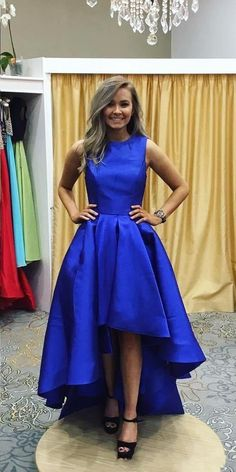 Hi-low Royal Blue Prom Dress,High Low Prom Gown,Sexy Royal Blue Hi-low Party Dress