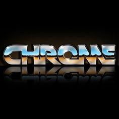 80's style typography - Chrome