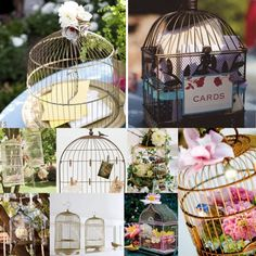 bird cage card holders... I think I just saw some cute ones at homegoods!