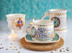 Special Price: $15.00 - Many Years Cup & Saucer Set from the Ceramic Workshop of St. Elisabeth Convent - To learn more: http://catalog.obitel-minsk.com/ceramics-workshop Worldwide Delivery - #CatalogOfGoodDeeds #pottery #ceramic #handmade #order #purchase #buy #gift #souvenir #present #cup #mug #sauser #plate