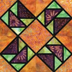 Stained Glass Dance of Flight Quilt Block Pattern