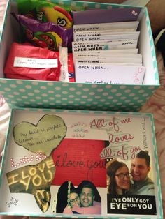 Open when..... Me and my boyfriend only see each other every two weeks and we find it really hard so I put together a open when box includes his favourite sweets and other little gifts in his envelopes which relate to the letters I gave him, he was so overwhelmed and said its the best gift hes had