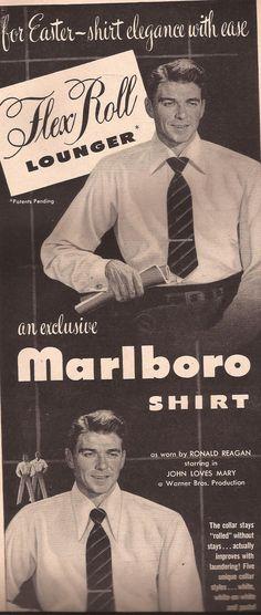 Ronald Regan 1949 Advertisement for Marlboro shirts.