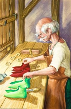 Two leather cut outs - the elves and the shoemaker