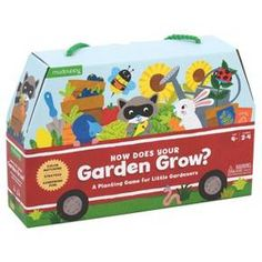 Winner of the prestigious (kid-tested) Oppenheim Toy Portfolio Gold Seal Award, How Does Your Garden Grow? Is a clever planting game of chance that involves coloring, matching, taking turns, and a few simple rules. Little gardeners tend a garden row playing board, plant seeds and draw cards to get help from bees, ladybugs, and worms and try to avoid pests like rabbits, moles and raccoons!