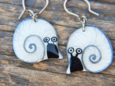 Check out this item in my Etsy shop https://www.etsy.com/listing/228841825/quirky-slug-earrings-whimsical-fun-snail