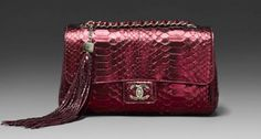 VERY RARE LIMITED EDITION *SOHO* CHANEL RED PYTHON BAG (ONLY 5000 MADE)