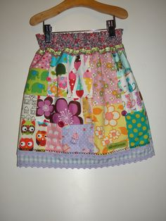 Unique Patchwork Skirt Age 4-5 Years by wonderbugs on Etsy, $56.00
