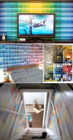 Instead of three walls one color and one wall a statement color, use those paint chips for the third wall!  Hope there isn't a run on the paint stores for the paint chips!  Take that HGTV!