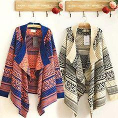 Women Boho Ethnic Drape Open Asymmetric Sweater Wrap Cardigan Blanket Knit Coat #Unbranded #Sweatercoat