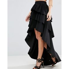 ASOS Rara High Low Maxi Skirt in Scuba ($61) ❤ liked on Polyvore featuring skirts, hi low skirt, asymmetrical skirt, high-waisted skirts, high waisted pleated maxi skirt and pleated skirts
