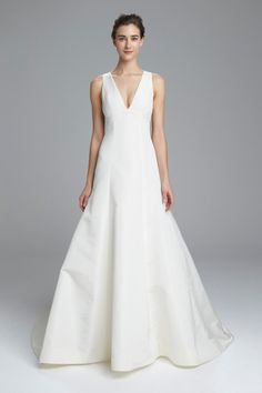 Faille de Soie Wedding Dress: Sheer Back, Fit to Flare Gown