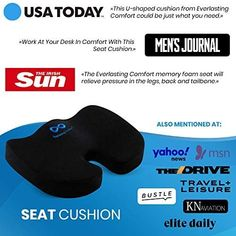 Everlasting Comfort Seat Cushion for Office Chair – Tailbone Pain Relief Cushion – Coccyx Cushion – Sciatica Pillow for Sitting (Black) #travel #seatcushion