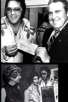 """Jackson, Mississipi, May 1975, tornado benefit concert, Elvis presenting check to governor - below with his wife who noted that Elvis was """"quite shy""""."""