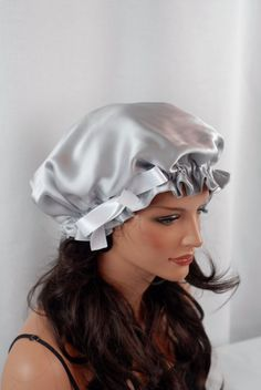 Silk Sleep Bonnet, Silver Charmeuse, Fully Adjustable Bow Drawstring Attached to Gentle Elastic, Reversible Sleep Cap for Hair Care by AdorabellaBaby on Etsy