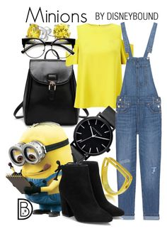 """""""Minions"""" by leslieakay ❤ liked on Polyvore featuring Miss Selfridge, The Horse, Bling Jewelry, Levi's, Maya Magal, Halloween and minions"""