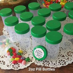 20 Pill Bottle Jars Green Cap Lid Party Favor 2 oz  Container #4314 DecoJars USA #Decojars