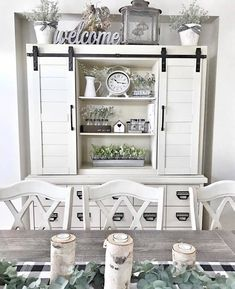 We love how styled this dining room with farmhouse accents to create such a cozy and timeless space. Farmhouse Dining Room Table, Dining Room Hutch, Dining Room Colors, Dining Room Walls, Farmhouse Kitchen Decor, Kitchen Hutch, Farmhouse Ideas, Farmhouse Style, Above Cabinet Decor