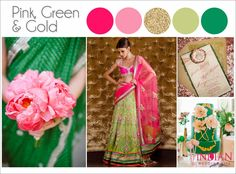 Pink, Green & Gold Indian Wedding Color Palette - Indian Wedding Site Home - Indian Wedding Site - Indian Wedding Vendors, Clothes, Invitations, and Pictures. Green Color Schemes, Wedding Color Schemes, Green Colors, Wedding Colors, Wedding Flowers, Gold Palette, Wedding Prep, Trendy Wedding, Wedding