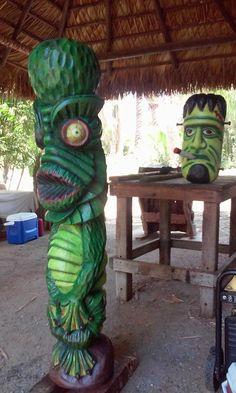 Tiki Art, Tiki Tiki, Tiki Head, Tiki Statues, Tiki Decor, Tiki Lounge, Horror Decor, Cool Monsters, Tiki Room