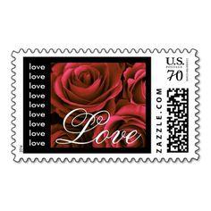 Elegant RED  & BLACK Wedding Love Roses Postage Stamps #wedding #stamps #love #marriage #romance #bride #groom #jaclinart #postage #elegant #red #black #roses