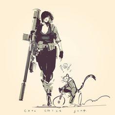 chics cats and guns , richard anderson on ArtStation at https://www.artstation.com/artwork/XGPo0