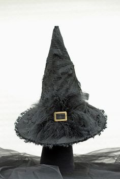 Black Couture Witch Hat w Feather Detail