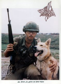 Robert Kollar, a handler with the fifty-eighth Infantry Platoon Scout Dog Unit in Vietnam, never forgot his loyal scout dog, Rebel M421. Several photos of his dog still grace the walls of his house. (Photo courtesy Robert Kollar)
