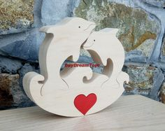 Free shipping Dolphins in love Gift to the Valentine's day Wood puzzle by DayDreamToys on Etsy