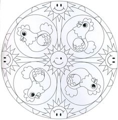 Cartoon like Mandalas Abc Coloring Pages, Mandala Coloring Pages, Coloring Sheets, Coloring Books, Hand Embroidery Stitches, Embroidery Patterns, Mandalas For Kids, Bunny Drawing, Chicken Crafts