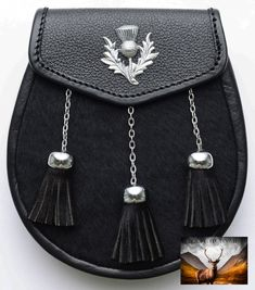 Em bossed Celtic design with Thistle. We also manufacture customized sporrans on special orders. Spacious panel, can carry mob phone, wallet etc. Kilt Accessories, Fashion Accessories, Front Hair Styles, Celtic Designs, New Shoes, Calves, Kilts, Leather, How To Wear
