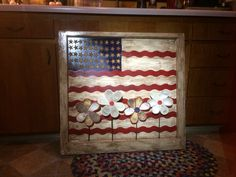 OOAK Salvaged/Repurposed/Upcycled Window Turned Painted American Flag: Rustic/Primitive Americana USA Flag Wallhanging Art W/Hand Made Baseball Flowers & Authentic Stars from Real US Flags That Were Awaiting the Final Burn (Made by my husband & myself~Nycra as a Christmas gift.)