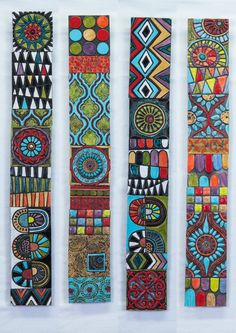 Global Folk Sticks (your choice of pattern) handmade tile wall art, vertical or h . - Global Folk Sticks (Your Choice of Pattern) Handmade Tile Wall Art, Vertical or Horizontal Art, Gal - Mosaic Wall Art, Wall Tiles, Mosaic Mirrors, Pottery Shop, Creation Deco, Art Sculpture, Sculpture Garden, Painted Sticks, Painted Wood